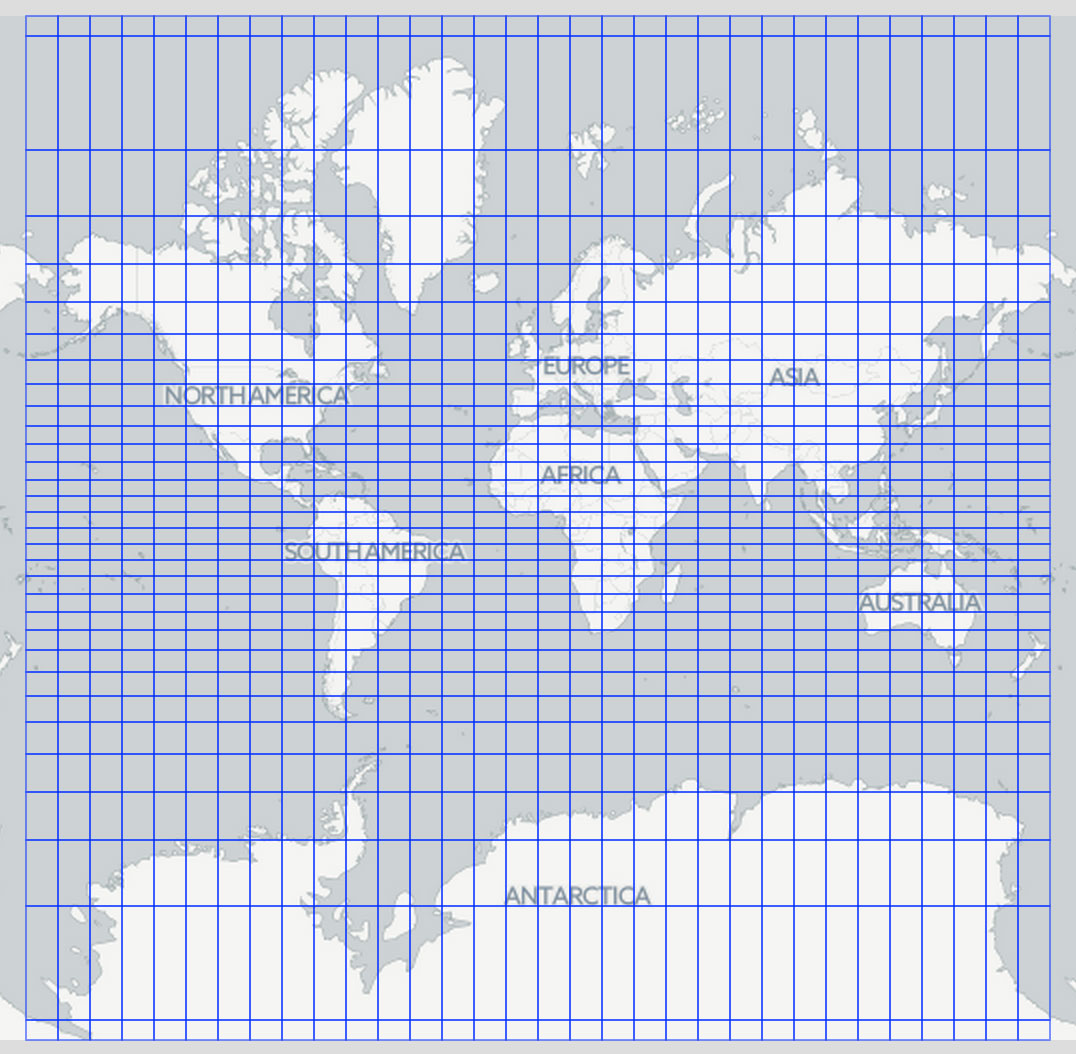 Equal degree grid of the world